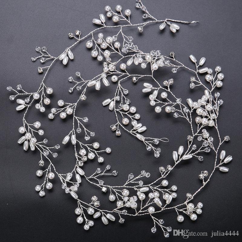 الساحرين خوذة السوبر الطويل للعرائس الزفاف الذهب والفضة اليدوية حجر الراين لؤلؤة هيرباند عقال اكسسوارات للشعر الفاخرة