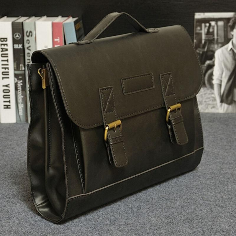 adc2780964 Male Men`s Vintage Messenger Shoulder Portfolio Laptop Office Handbag PU Leather  Briefcase Bag Case Top Grade Leather Holdall Men Bags From Snappya