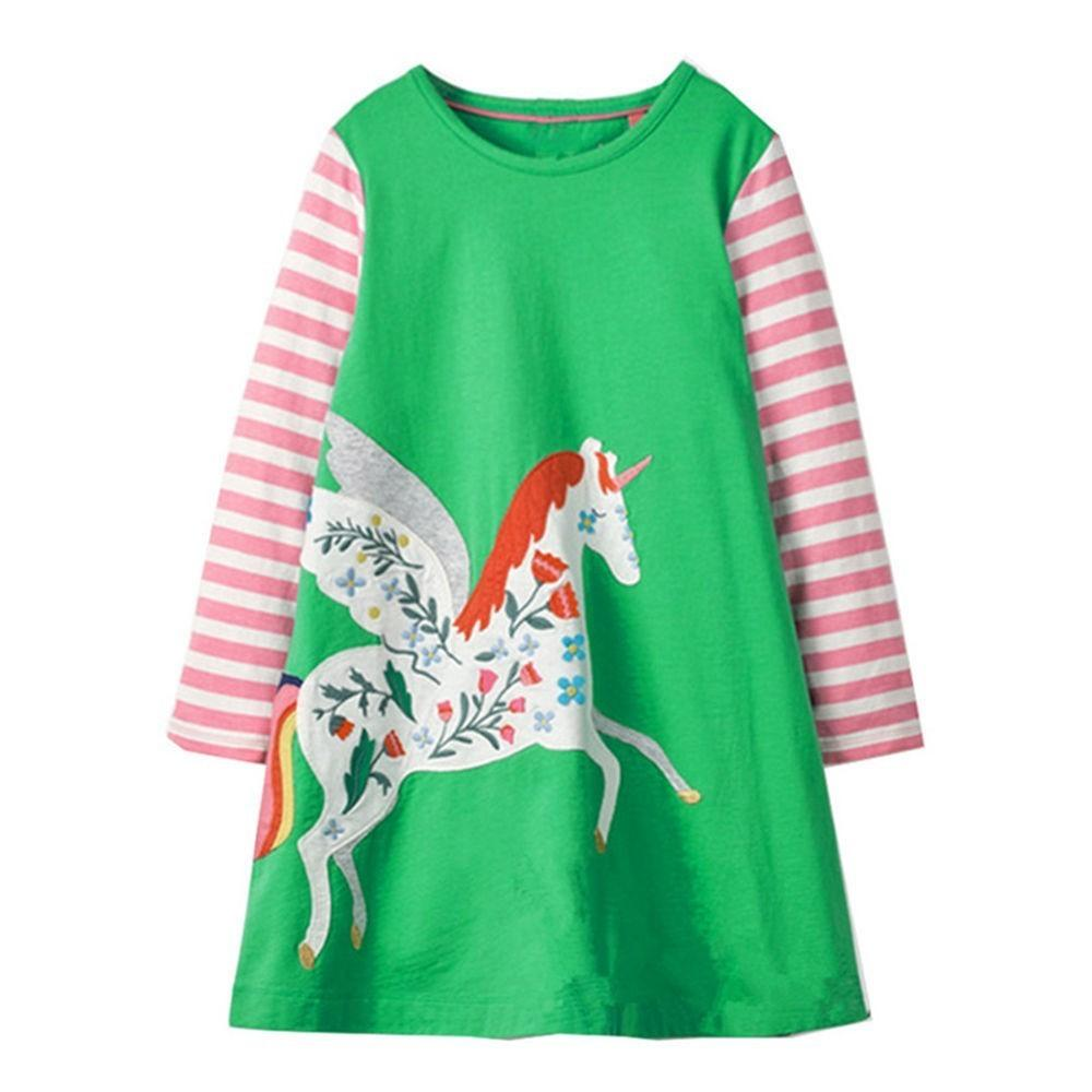 dcca6cb923a4 2019 Jumping Meters Girls Dresses Green Unicorn Stripes 2018 Autumn ...