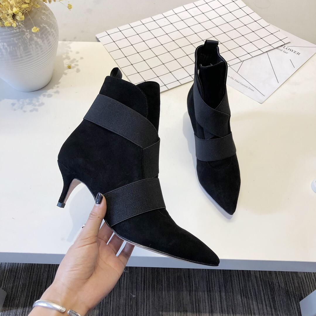 538ba6a4a75 Gianvito Rossi Ankle Boot Pointy Toe Bootie Elastic Band Suede Cross  Leather Boots For Women Slip On Pointed Toes Kitten Heel Booties 0Gr026
