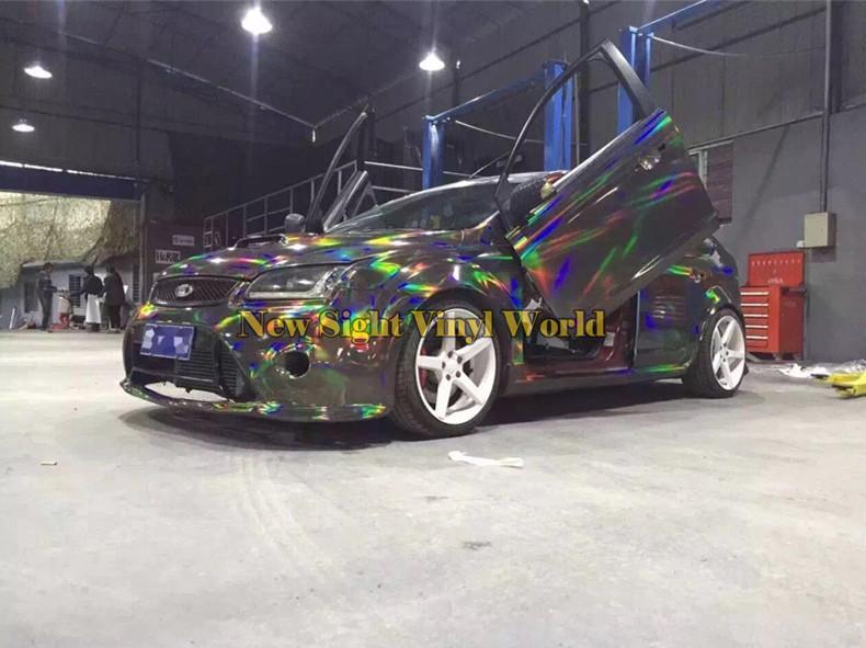 무지개 빛깔의 비닐 필름 무지개 블랙 크롬 레이저 자동차 비닐 포장 버블 무료 자동차 스티커 데칼