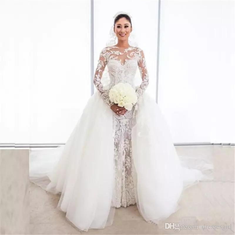 Gorgeous Lace Mermaid Wedding Dresses With Tulle Puffy Overskirt Illusion Long Sleeves Bridal Gowns Custom Made