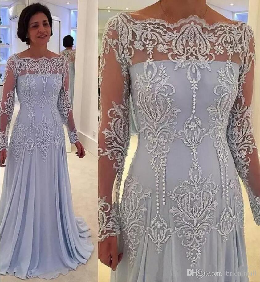 2019 Cheap Long Sleeves Mother Of The Bride Dresses Bateau Neckline Appliques Lace Pearls Mother Dress Wedding Guest Evening Gowns Plus Size
