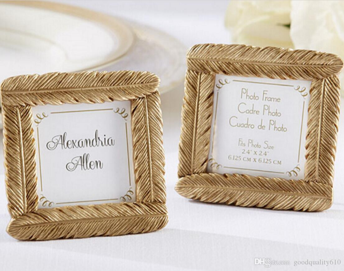 Mini Gold Feather Photo Frame For Wedding Baby Shower Party Birthday ...