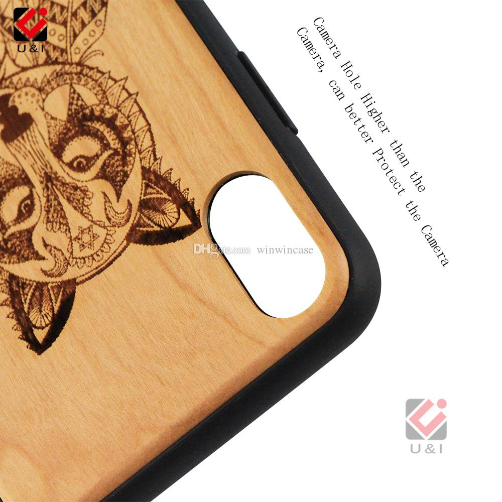 Cell phone cases for iPhone x, wood mobile phone cover for i Phone x, bamboo wooden shockproof laser engrave covers for Apple 10