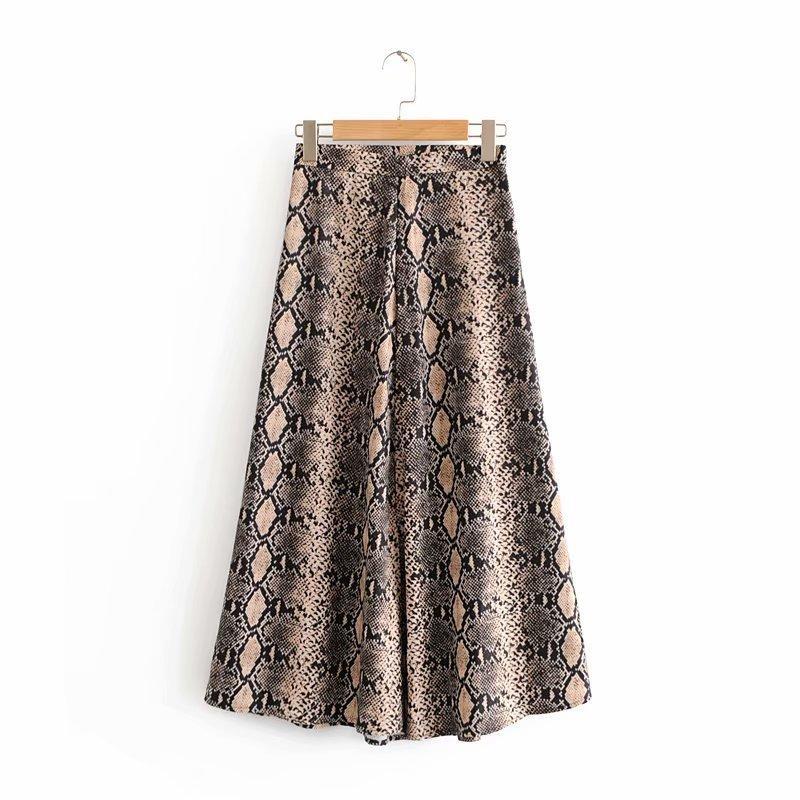 2d8c6d36d Nuevas mujeres de impresión de piel de serpiente de la vendimia falda larga  faldas mujer damas de cintura alta vestidos elegante cremallera lateral ...