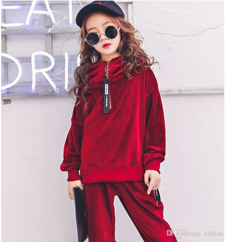 Childrens Clothes Girls Sport Suits 2018 Fashion Spring Velvet Hoodie Tracksuit Kids Hip Hop Two Piece Set Kids Teens Clothes
