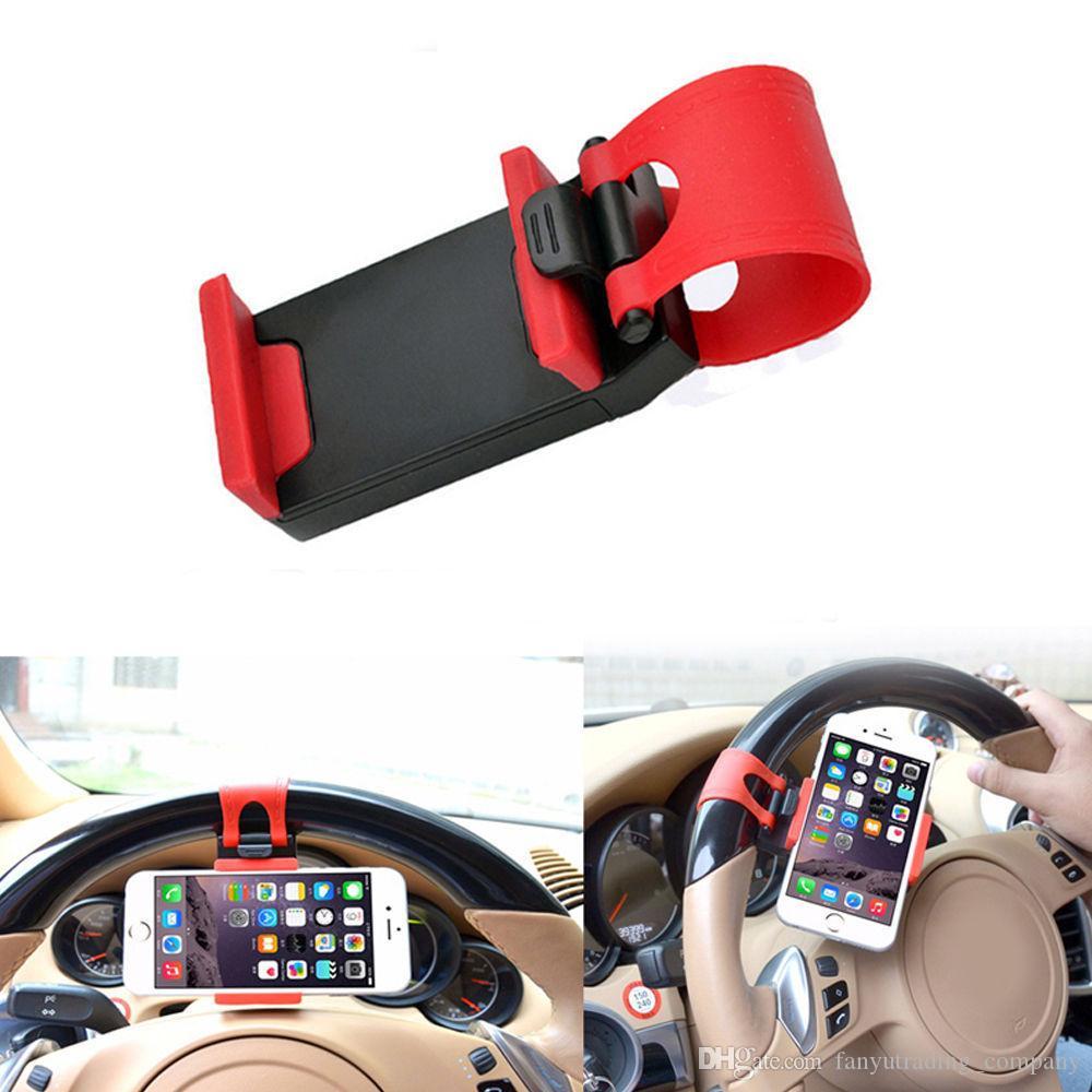 50-80mm 아이폰 삼성 DHL 무료 배송 2019 자동차 스티어링 휠 소켓 전화 홀더 보편적 인 휴대폰 클립 마운트 자동차 홀더