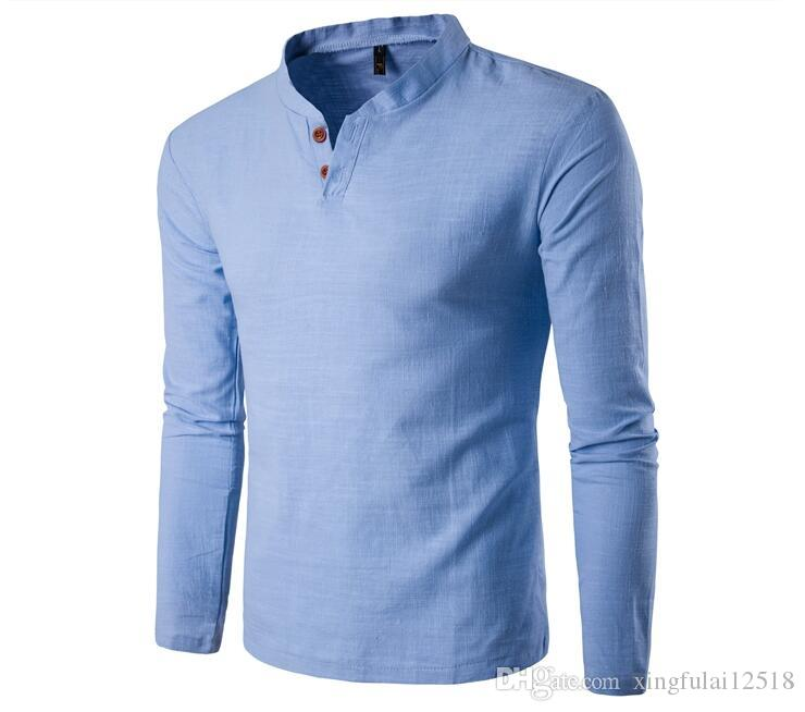 977765feb 2018 summer and autumn Chinese style cotton linen long-sleeved shirt linen stand  collar two buttons long-sleeved cotton linen men's shirt