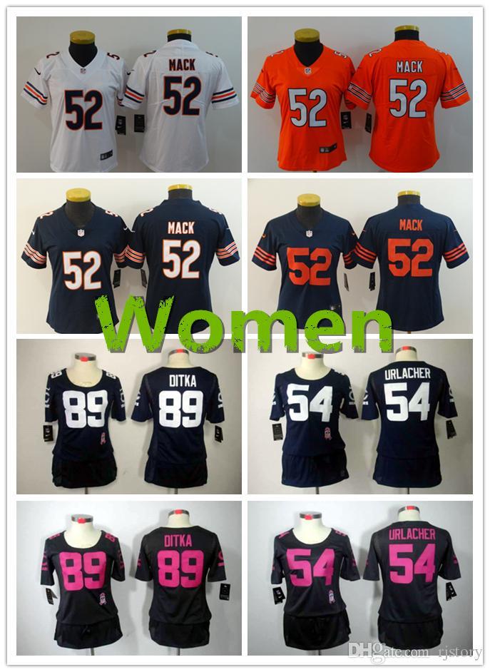 42fa6632077 Chicago Bears Women Football Jersey #52 Khalil Mack #89 Mike Ditka ...