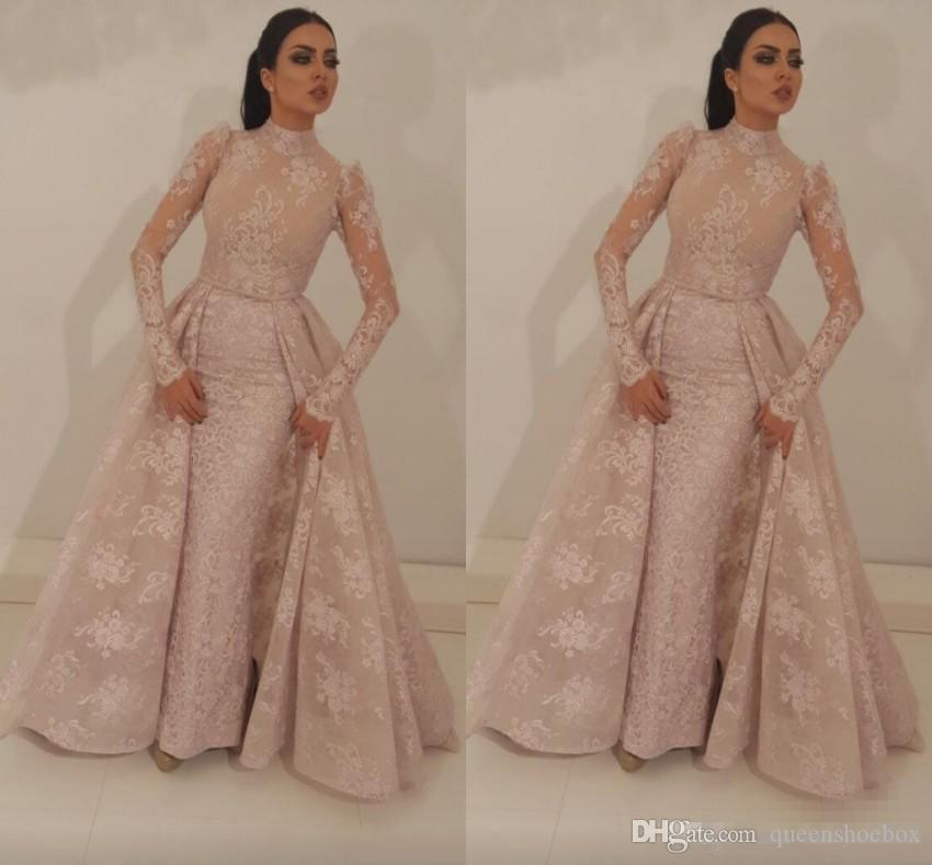 2019 High Neck Mermaid Prom Dresses With Detachable Train Blush Pink Full Lace Appliqued Illusion Bodice Long Sleeves Formal Evening Gown