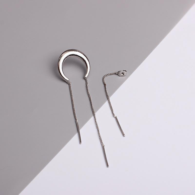 2017Fashion Unique Silver Gold Color Crescent Moon Tassel Stud Earring Brincos With Multi Chains Fashion Jewelry Pendietes Gift