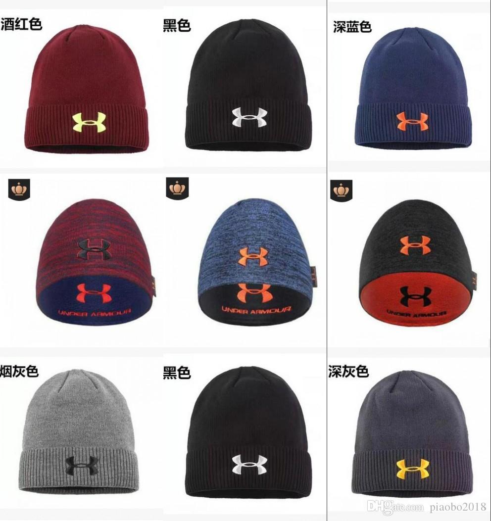 67f839d893b Brand UA Winter Reversible Beanie Hats Under Warm Striped Skullcap Armor  Fleece Hat Double Side Wear Cap Beanies Knitted Caps for Men Women UA Hat  Beanie ...