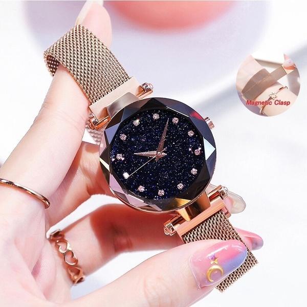 288cddc86fde Compre Oro Rosa Cielo Estrellado Relojes Para Mujeres Relojes De Pulsera De  Reloj De Pulsera De Reloj De Pulsera De Reloj De Pulsera De Moda Romana  Romana.