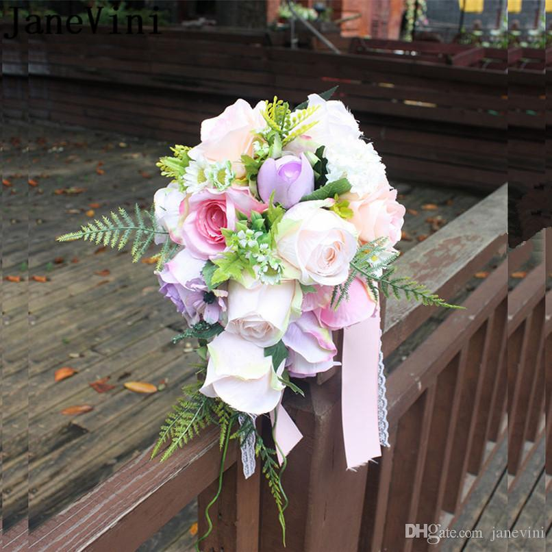 Good Buque Noiva Purple White Bridal Bouquet Artificial Waterfall Flowers Bridesmaid Romantic Handmade Pe Wedding Bouquet For Bride Wedding Bouquets