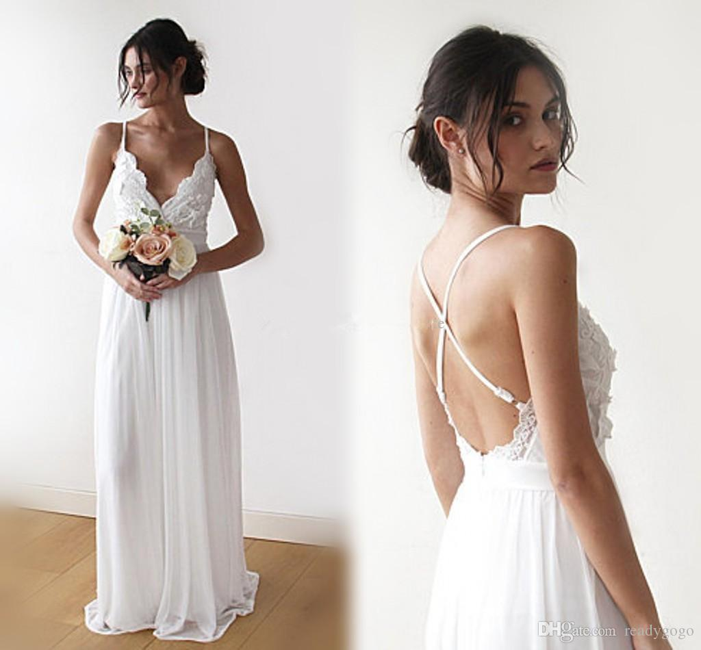 4cbd6d3be4c Discount Floor Length Beach Wedding Dresses 2018 V Neck Lace Chiffon Criss  Cross Back Bohemian Wedding Dresses Sexy Backless Bridal Dresses Wedding  Dress ...