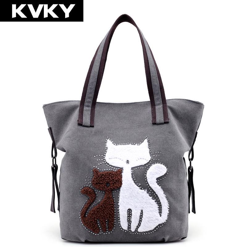 KVKY Brand Fashion Cute Cat Women Canvas Handbags Female Causal Tote Bag  Designer Ladies Solid Shoulder Bags Travel Bolsos Mujer Brown Handbags  Handbag ... e75ae5c9b0fd6