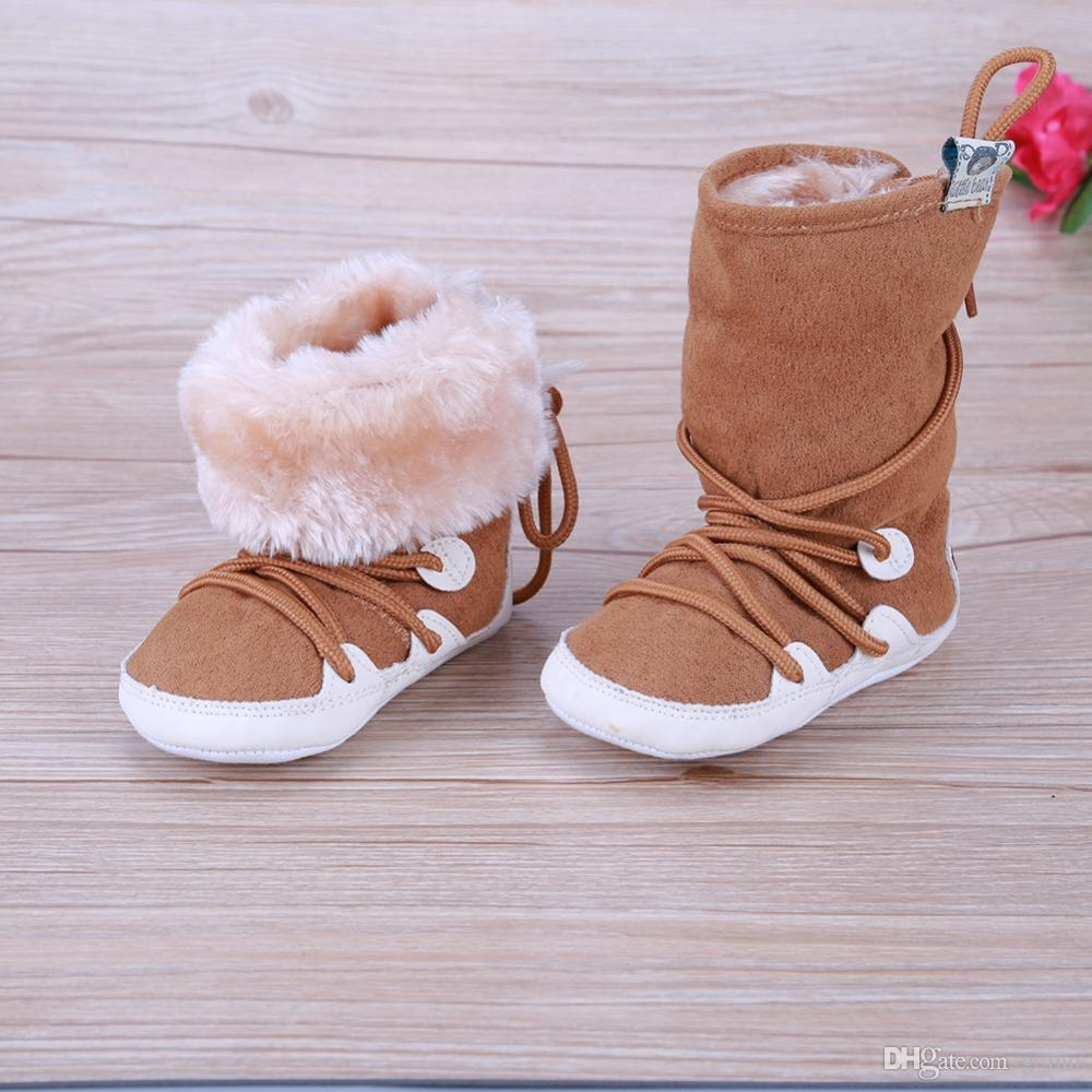 2069f8f33922 Baby Boys Girls Winter Warm Snow Boots Lace Up Soft Cotton Sole ...