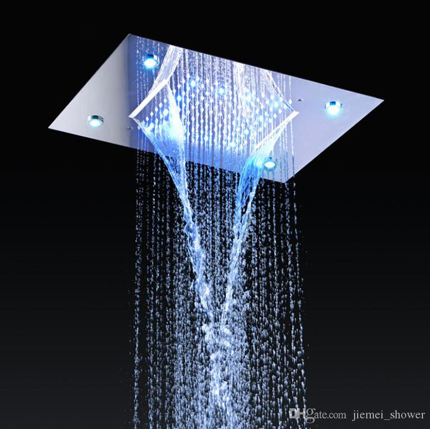 2018 Shower System Double Waterfall Rainfall Large Ceiling Led Rain Shower  Head Recessed Automatic Color Change Thermostatic Tap From Jiemei_shower,  ...