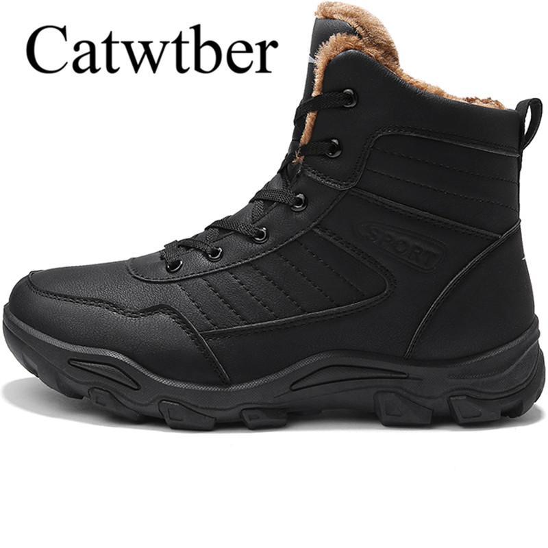 Cuir Fourrure Homme Bottes Catwtber Neige Air Casual Plein Mode Marche En Peluche Haut De Hiver Chaussures 76yfgb
