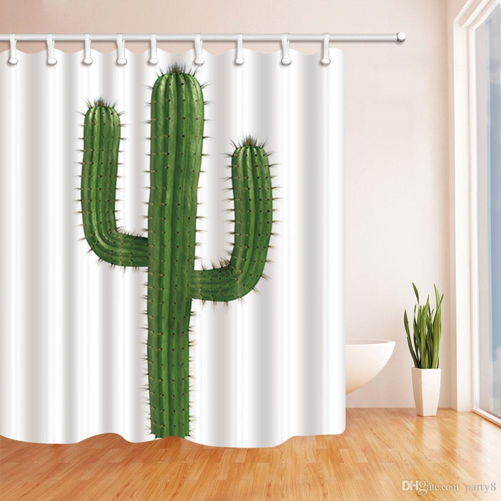 2019 Green Cactus Plant Fashion Shower Curtain 70 X In Mildew Resistant Waterproof Polyester Fabric Decoration Hanging Curtains From Party8