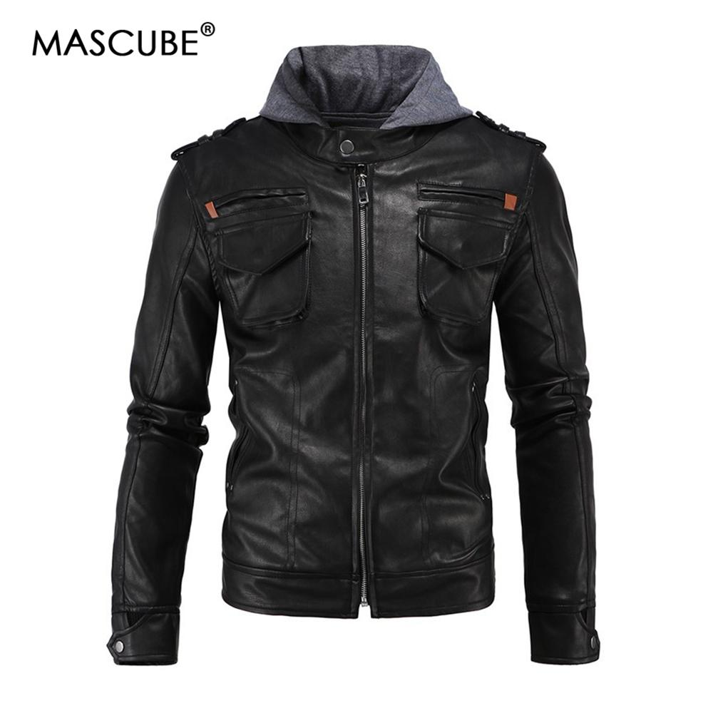 fa78eedee81 MASCUBE Hooded Leather Jackets Men Coats Black Motorcycle Jackets With Hat Hoodie  Style Fashion Leather Jacket Big Size Discount Jackets Man Jackets From ...