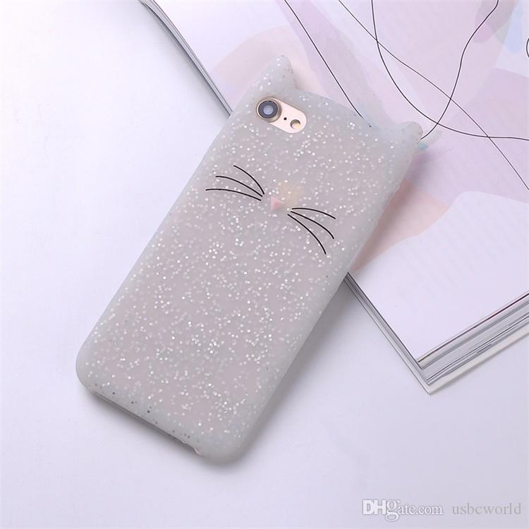 Cute 3D Silicone Cartoon Cat Pink Black Glitter Soft Phone Case Cover For Iphone X XR XS MAX 6 7 8 Plus