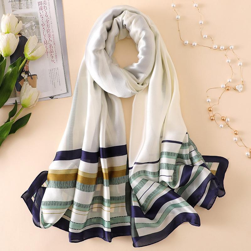 3f9d617216a Blue Striped Silk Scarf Women Fashion Pure Silk Hijab Foulard New ...
