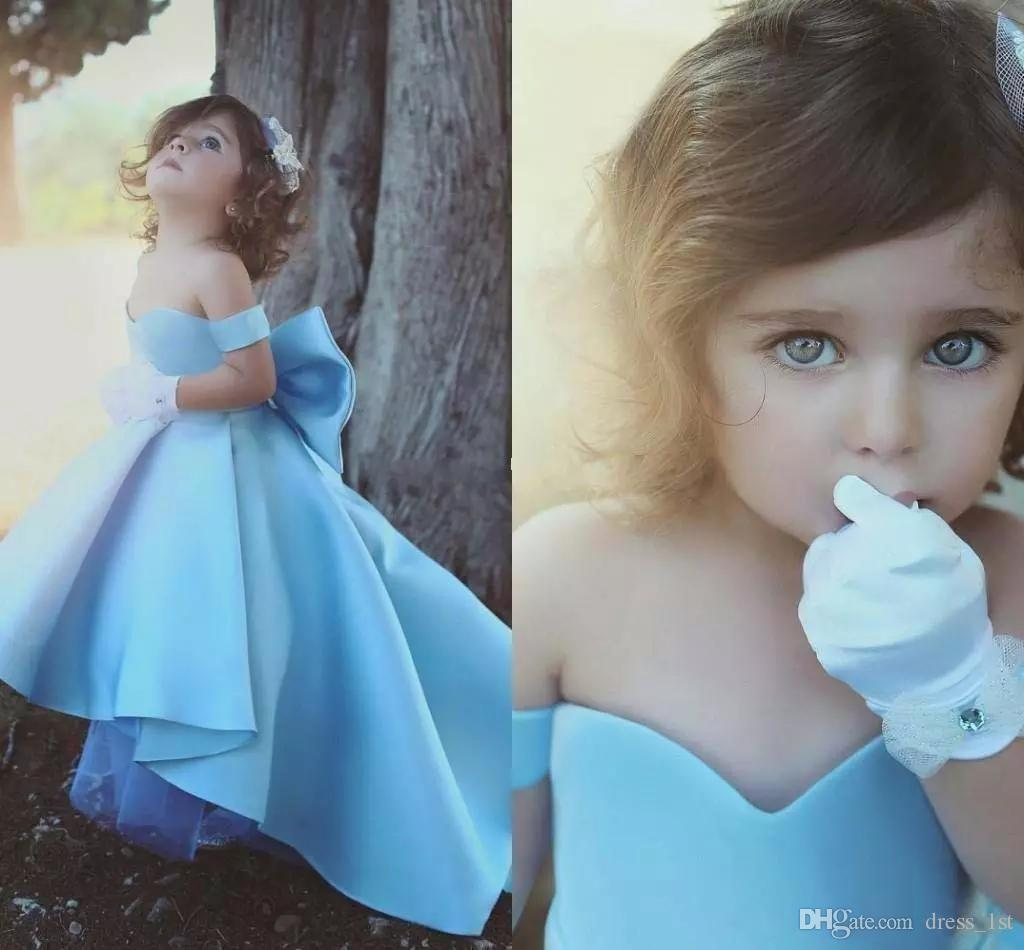 2018 New Style Cute Girls Pageant Dresses with Bow Off The Shoulder A Line High Low Blue Satin Kids Prom Dresses Graduation Gowns