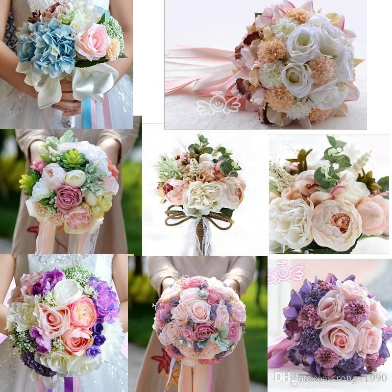 2018 Women Silk Roses Ribbon Bridal Wedding Bouquet Decorations