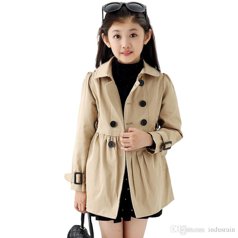 f234f9b87 Girls Coat Children Khaki Classic Windbreaker Kids Rainproof ...