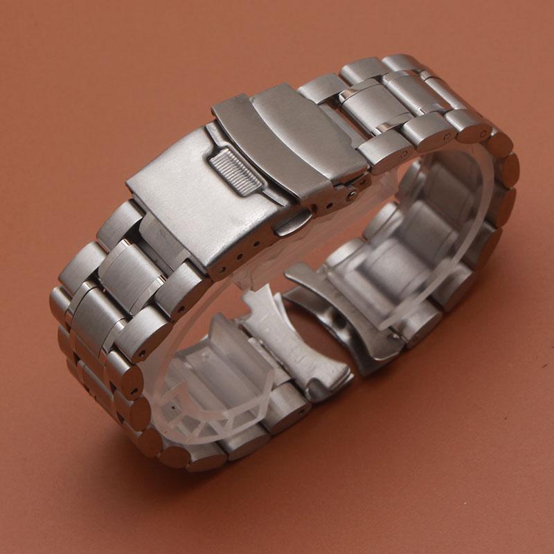 d537328ba27 18mm 20mm 22mm 24mm de Aço Inoxidável Sólida Ligação Pulseira relógio de  Pulso Banda Homens Relógios Bandas relógio Strap substituição de  extremidades ...