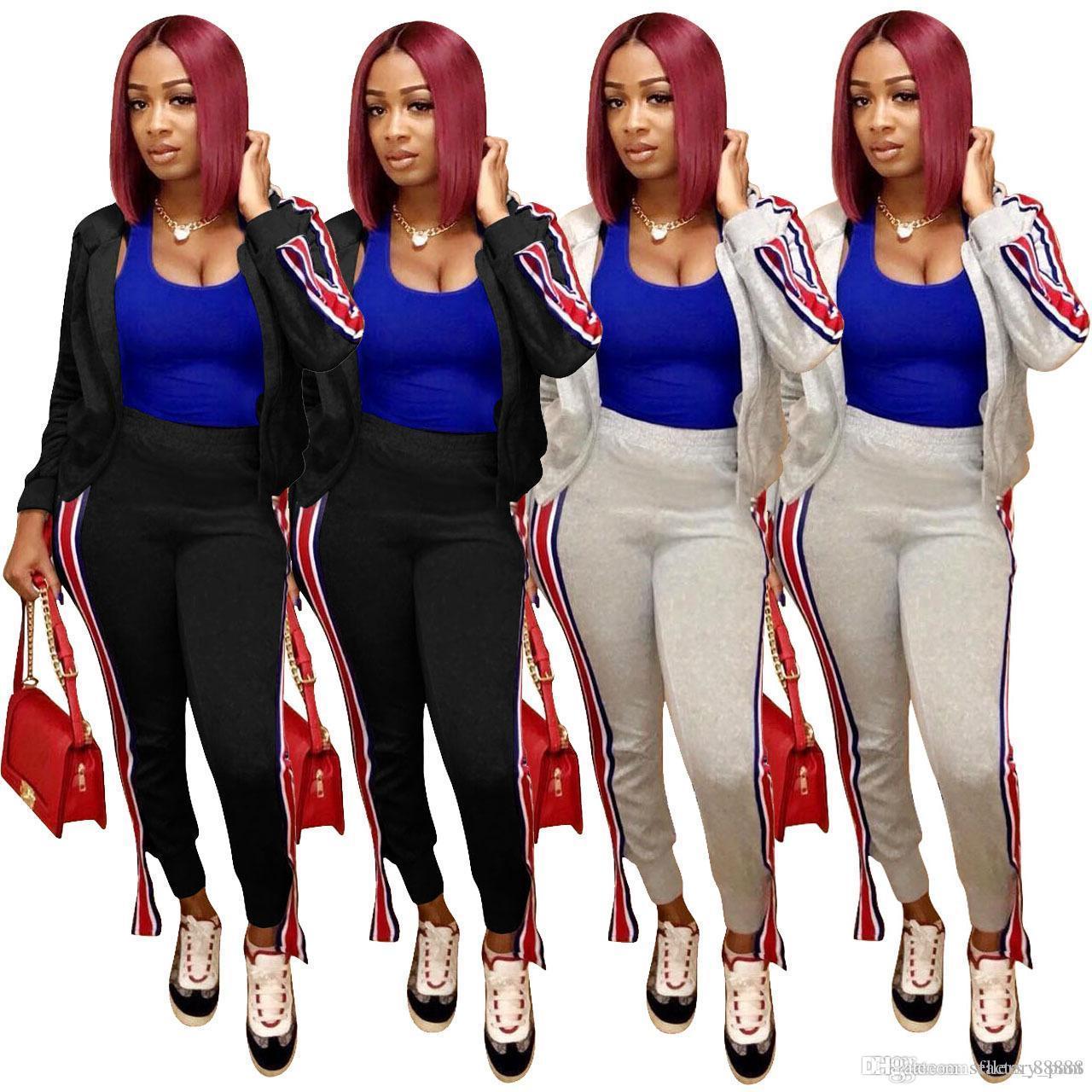 6a3ee257352f Autumn Women Striped Print Sweatsuit Zipper Tops Jacket+pocket Pants ...
