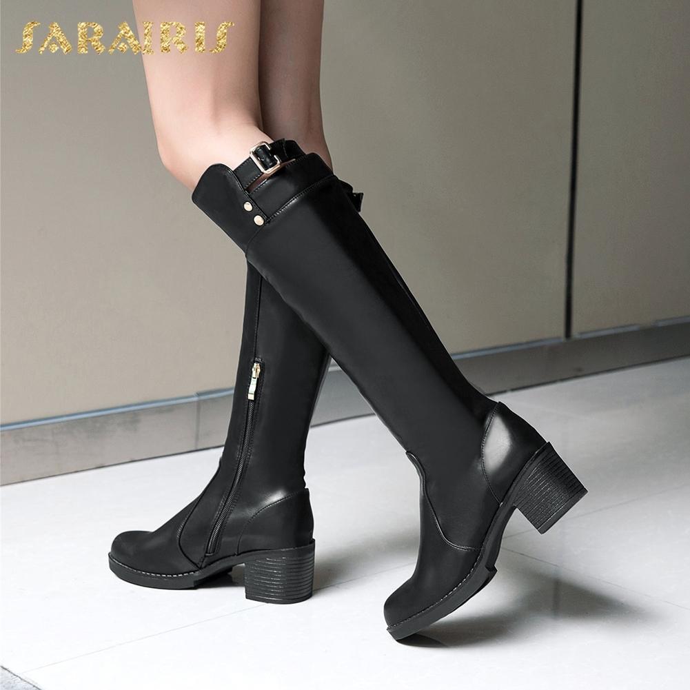 60cc46ff8 Compre SARAIRIS Dropship Tamanho Grande 33 43 Outono Inverno Botas De  Equitação Botas Sapatos De Mulher Saltos Quadrados Fivela De Cinto Na Altura  Do Joelho ...