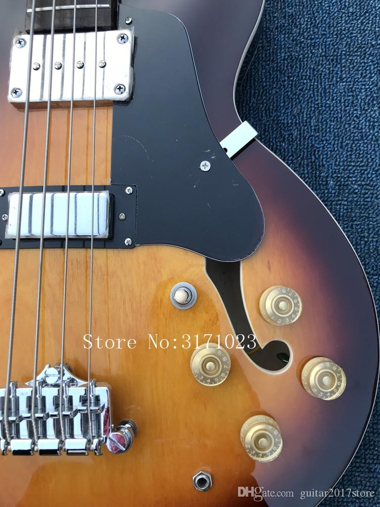 Custom 4 Strings ES Jazz BASS Vintage Sunburst Electric Bass Guitar Flame Maple Top Semi Hollow Body Double F Hole Rosewood Fingerboard