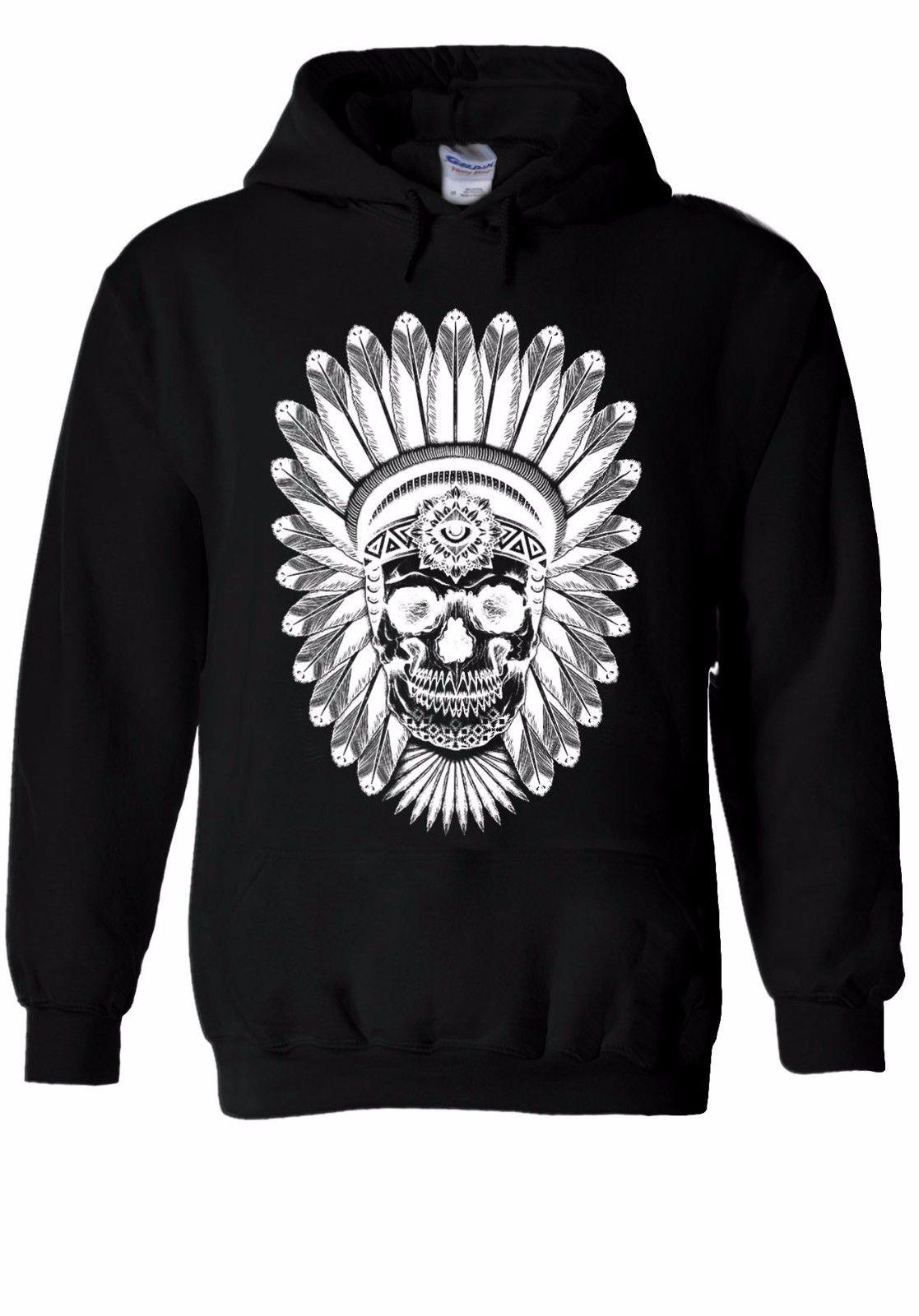 a92139ac0c07 Indian Skull Skeleton Cool Indie Sudadera con capucha Jumper Hombres  Mujeres Unisex 1136