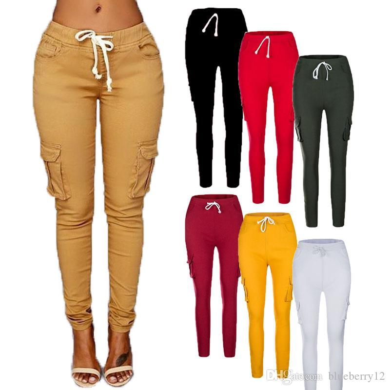 d81cb9c047a Womens Sweat Pants Solid Drawstring Skinny Pencil Pants Elastic ...