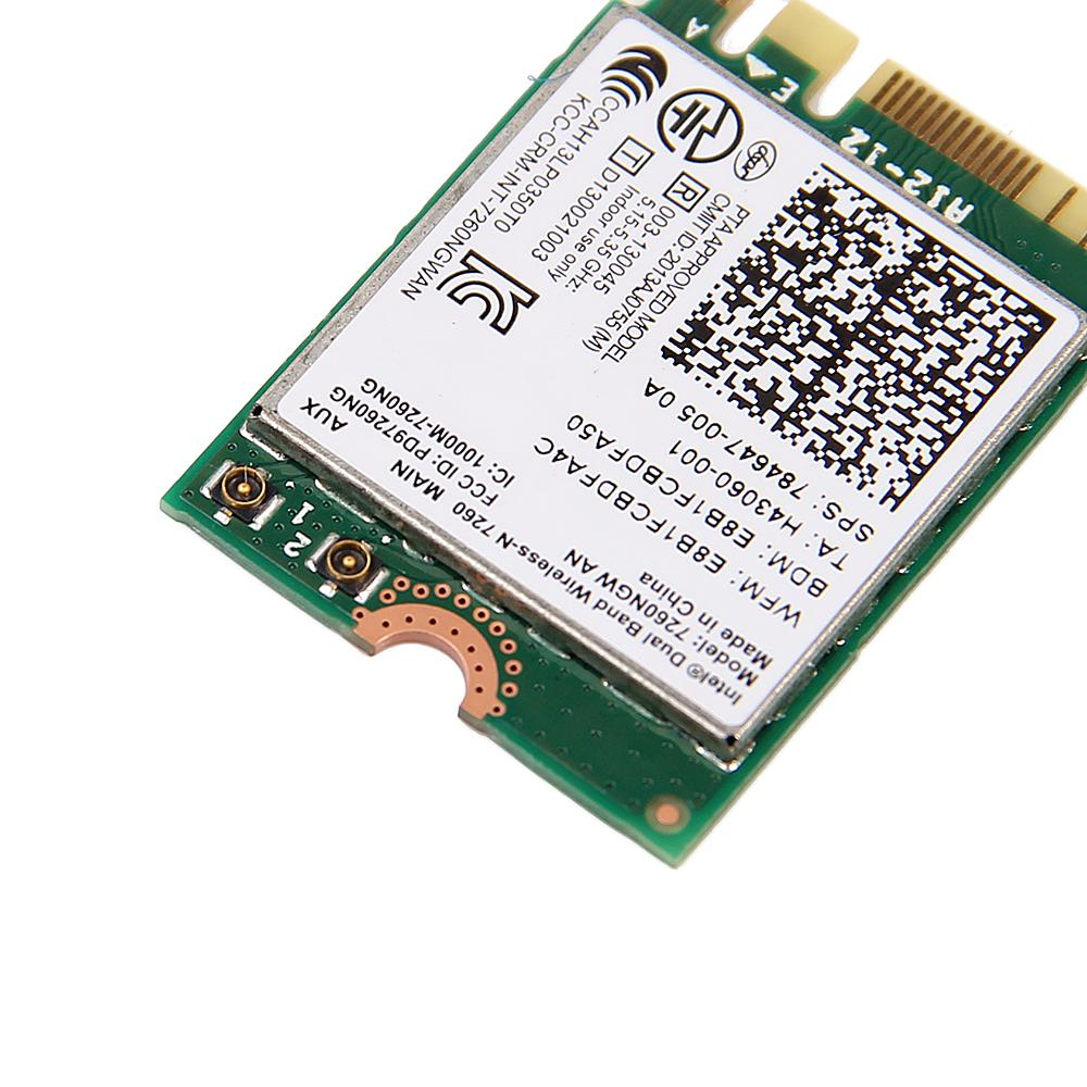 300Mbps Dual band Wireless Adapter For Intel Wireless-N 7260 7260NGW AN Wifi + Bluetooth 4.0 802.11n 2.4G/5Ghz Wlan Network card