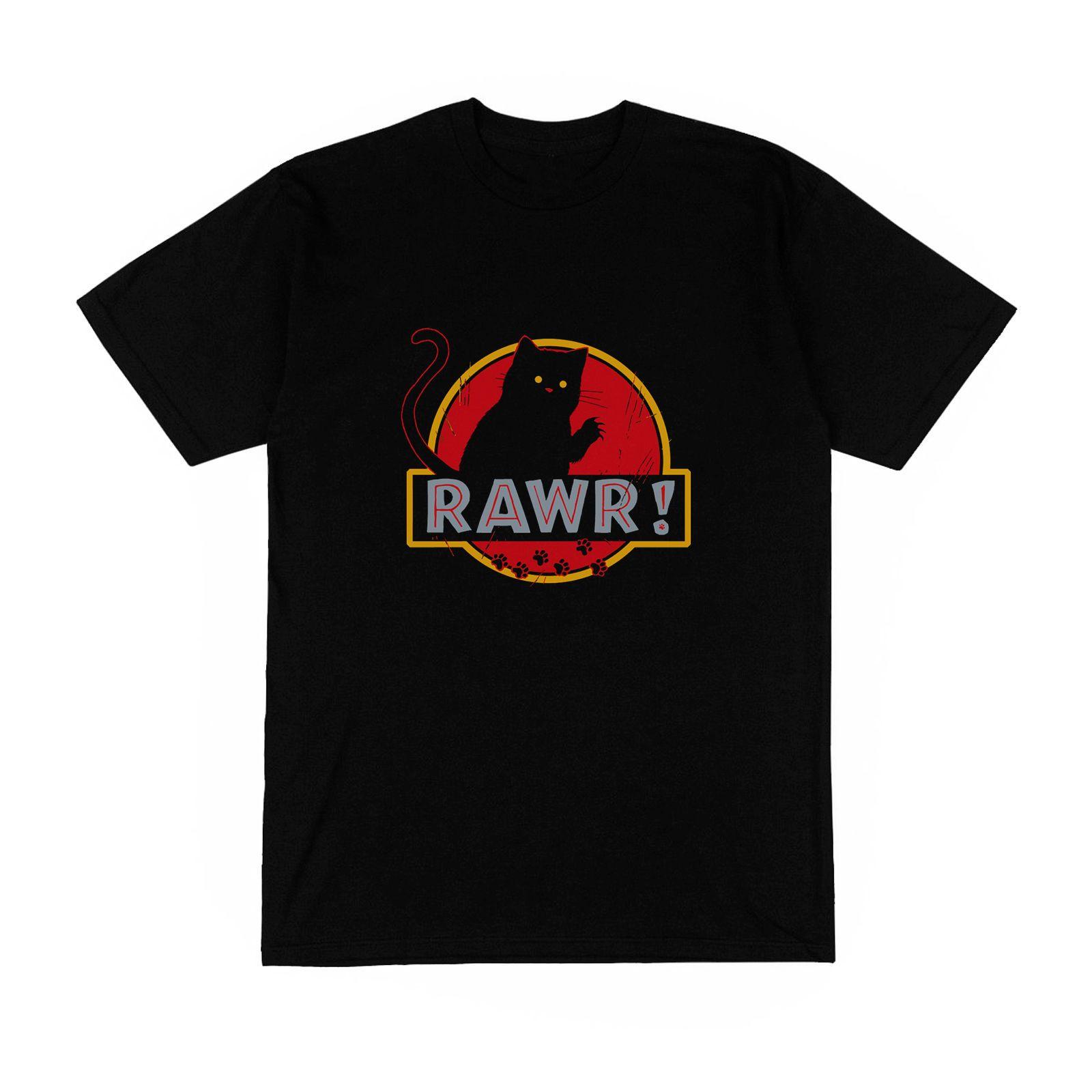 Grosshandel T Shirt Homme Noir Rawr Jurassic Park Chat Detournement
