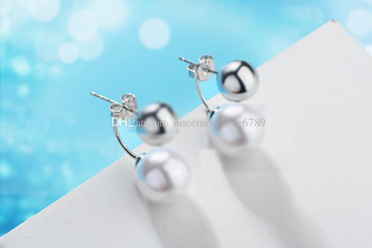 Argent sterling 925 Boucles d'oreilles perle boule de perles modèles féminins portant un deux boucles d'oreilles mignons mode sauvage Super bijoux