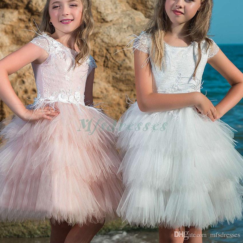 Nueva princesa con gradas Puffy vestido de bola sin mangas vestidos de niña de flores hasta el suelo vestido de las muchachas del desfile de cumpleaños de la magdalena vestidos de fiesta