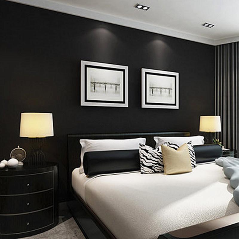 Modern simple plain pure black color drawing matte black wallpaper hotel  KTV restaurant works PVC wallpaper
