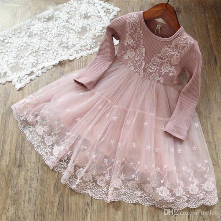 INS Spring Autumn Kids Girls Tutu Princess Ruffles Party Dress Candy Pink Gray Fashion Dress 90-140cm,for 1-7years free ship