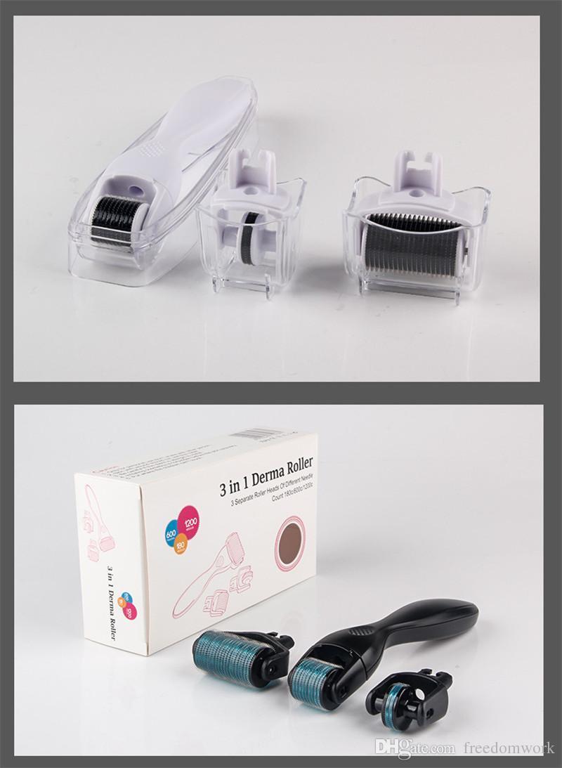 DRS Derma roller System 3 en 1 Titanium Derma Roller Scar cepillo facial Micro terapia de la aguja Kit de cuidado de la piel buen envío libre de DHL