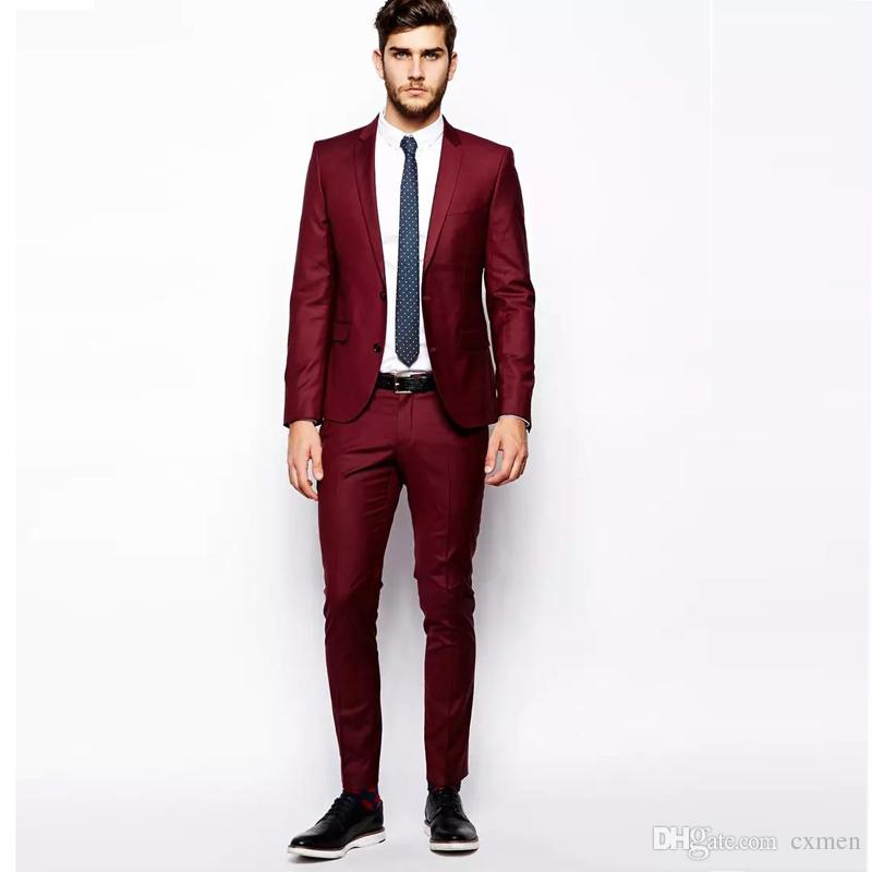 Burgundy Men Wedding Suits Summer Beach Smart Casual Prom Wear