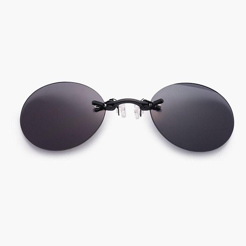 Männer Frau Sonnenbrille Klassisch Klemme Nase Runde randlose Sonnenbrille Mini