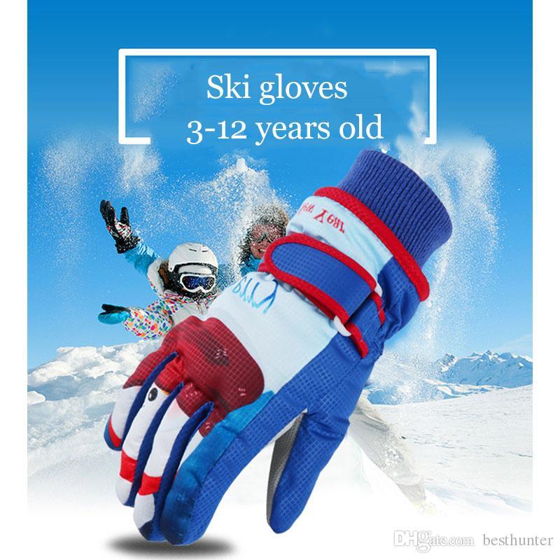 f9095374238d 2019 New Children Winter Warm Ski Gloves Cartoon Pattern Windproof ...