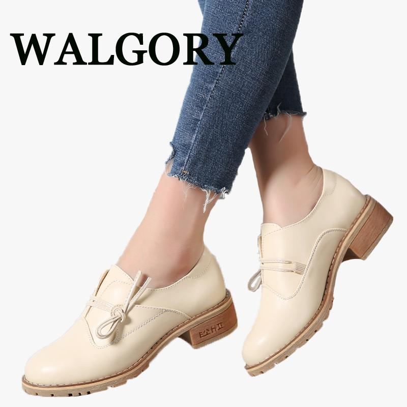 b52e9a8f3fda WALGORY Women Oxfords Flats Shoes Genuine Leather Knot Solid Slip On Rubber  Female Black Casual Flat Heel Boat Shoes Moccasin Wedge Shoes Casual Shoes  For ...