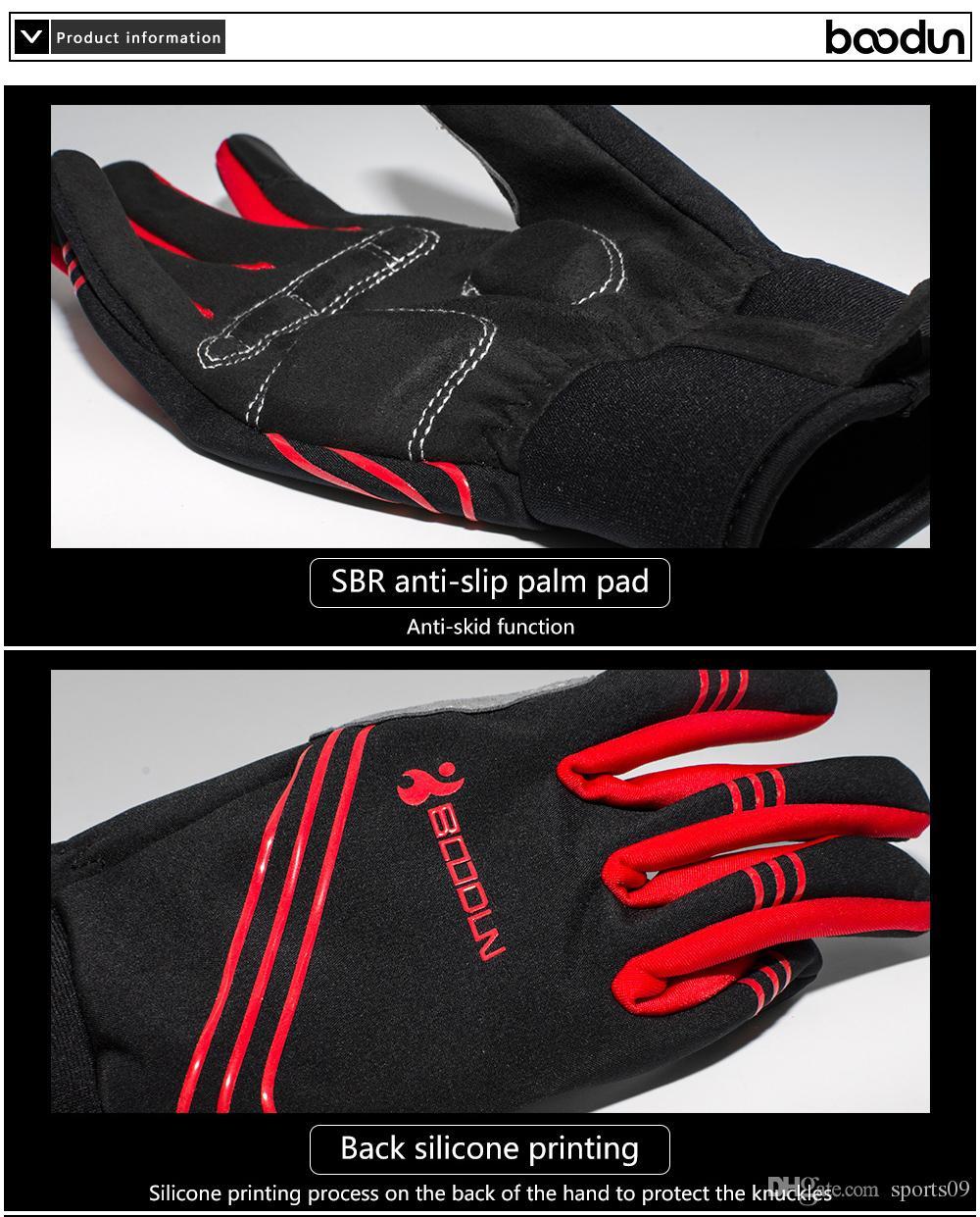 Boodun Winter Riding Cycling Gloves Men And Women Warm Gloves Anti-Skid Shock Mountain Bike Riding Gloves Full Finger 2018 Protective Gear