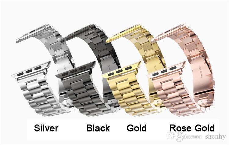 حزام الساعة من الفولاذ المقاوم للصدأ لسلسلة Apple Watch 3 2 1 Band Sport Edition أسود فضي Gold Watchband 38mm 42mm لـ iWatch band